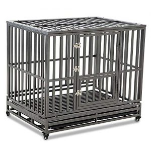 LUCKUP Heavy Duty Dog Crate Strong Metal Kennel |