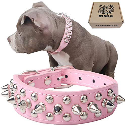 Adjustable Leather Spiked Studded Dog Collar |