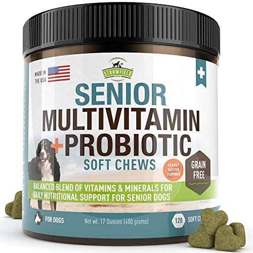 Senior-Dog-Vitamins-and-Supplements-120-Grain-Free-Chewable-Multi-Vitamin-Senior-Multivitamin-for-Dogs-Pet-Glucosamine-Chondroitin-Joint-Support-Arthritis-Immune-Booster-Skin-Coat-Probiotics-0 |